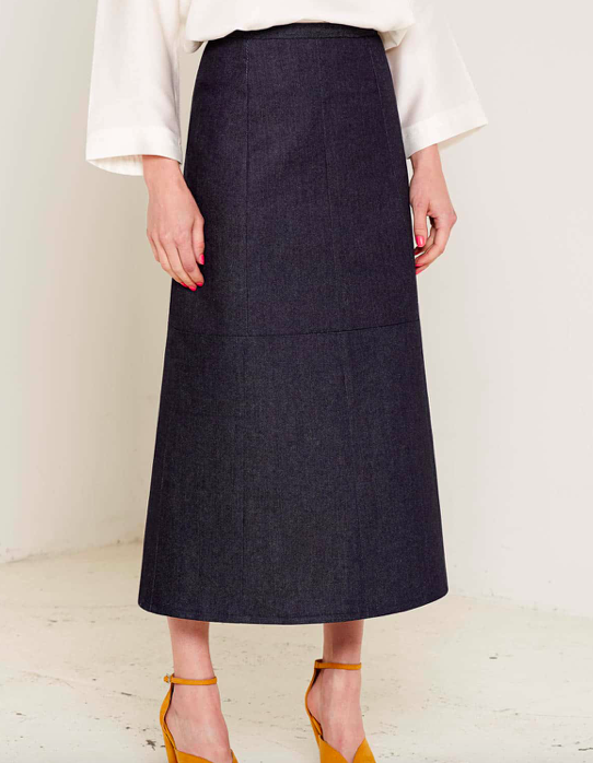 Aequem.com Shop Women's Ethical Fashion & Women's Sustainable Fashion Joan Denim Navy Skirt-Skirts-Bo Carter (UK)