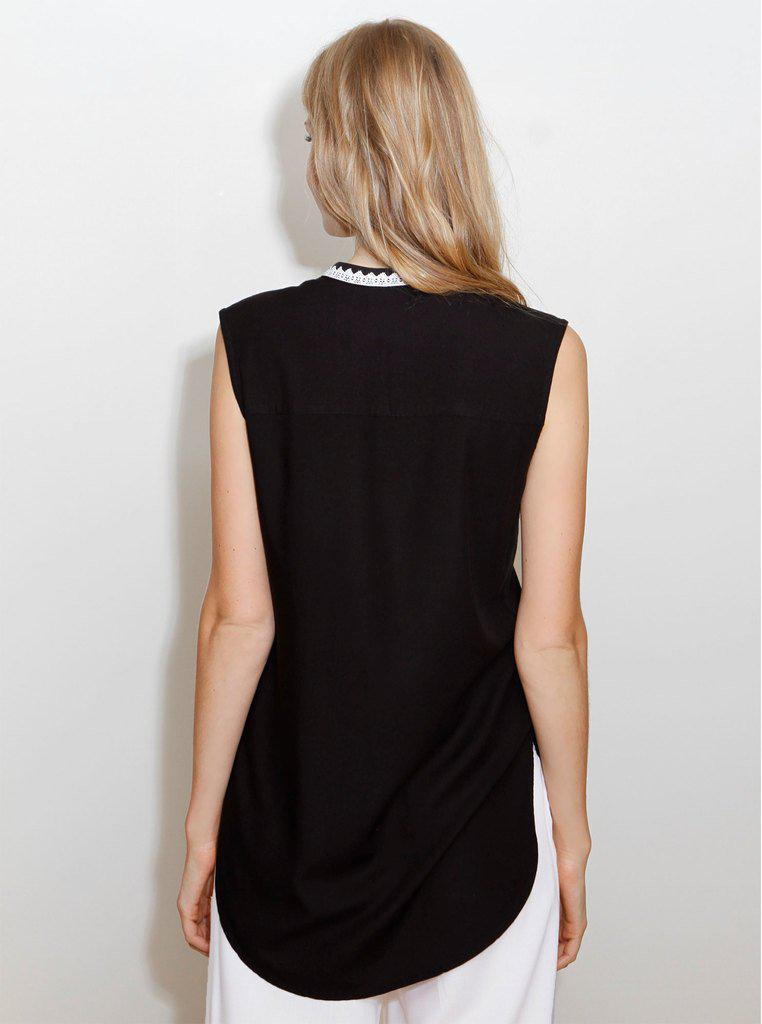 Aequem.com Shop Women's Ethical Fashion & Women's Sustainable Fashion KAER Black Bamboo Sleeveless Blouse-Tops-Kirivoo (UK)