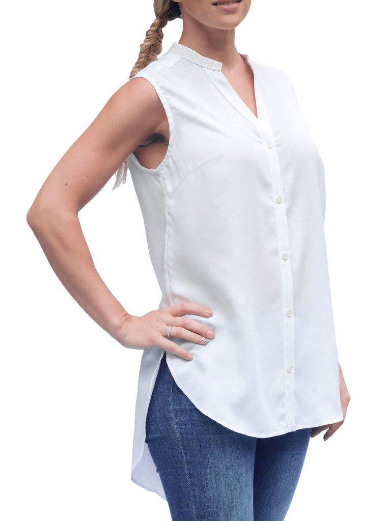Aequem.com Shop Women's Ethical Fashion & Women's Sustainable Fashion KAER White Bamboo Sleeveless Blouse-Tops-Kirivoo (UK)