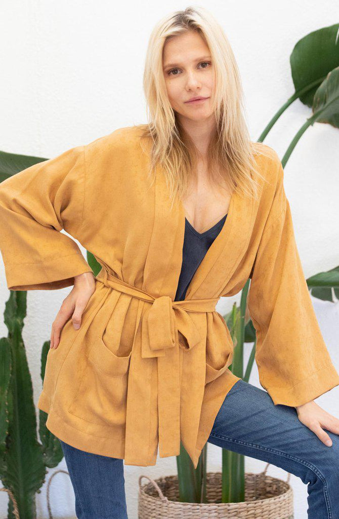 Aequem.com Shop Women's Ethical Fashion & Women's Sustainable Fashion Kimono Azalée in mustard-Coats & Jackets-AVANI