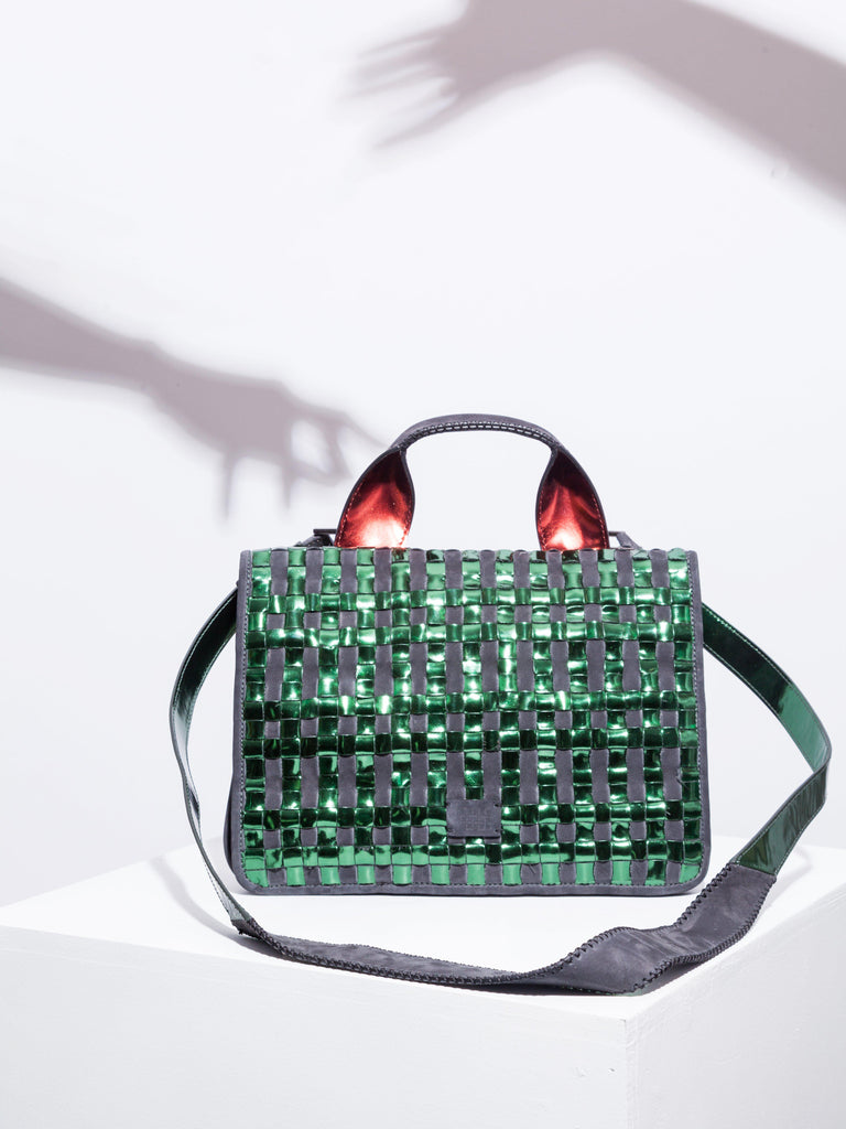 Aequem.com Shop Women's Ethical Fashion & Women's Sustainable Fashion Leona Bag - Black with Chequer Green Mirror weaving and Vino Mirror Detailed-Shoulder Bags-Carolina Wong (UK)