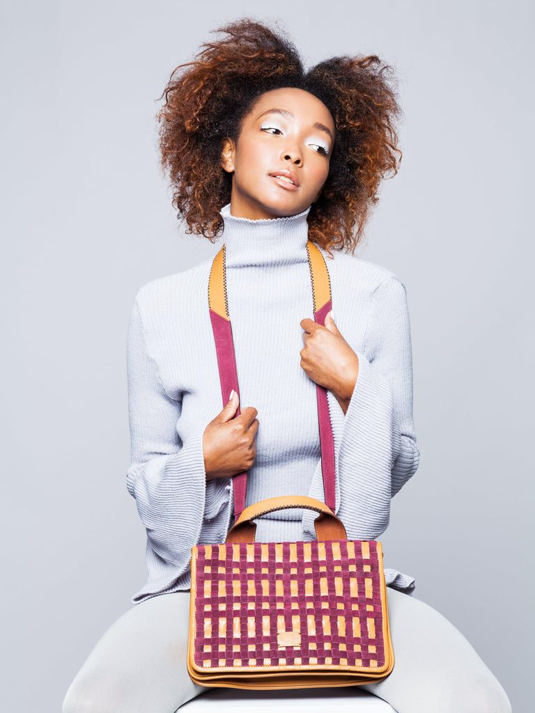 Aequem.com Shop Women's Ethical Fashion & Women's Sustainable Fashion Leona - Tan with Chequer Burgundy Weaving detailed Bag-Shoulder Bags-Carolina Wong (UK)