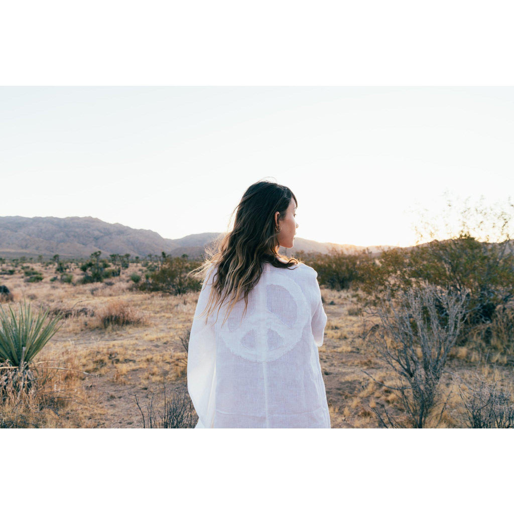 Aequem.com Shop Women's Ethical Fashion & Women's Sustainable Fashion Let There Be Peace dress in White-Cover-ups-A Perfect Nomad