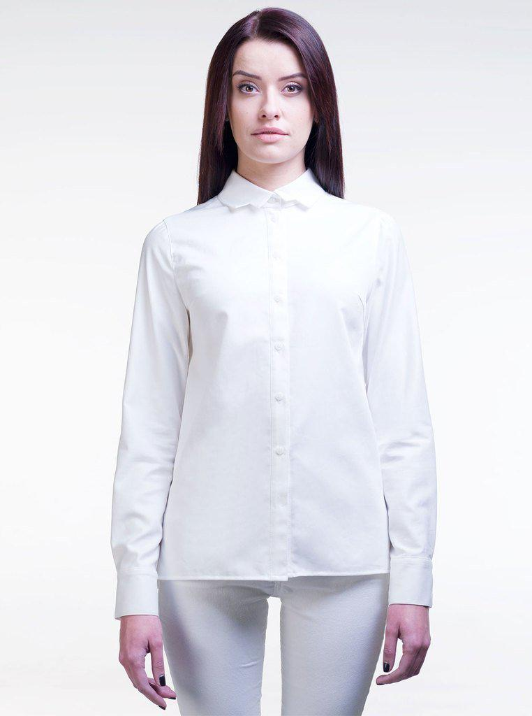 Aequem.com Shop Women's Ethical Fashion & Women's Sustainable Fashion LIISA White Organic Cotton Straight Shirt-Tops-Kirivoo (UK)