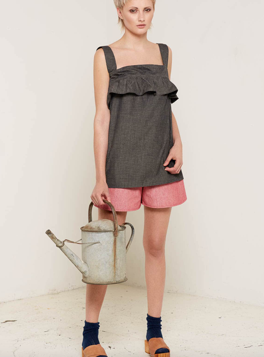 Aequem.com Shop Women's Ethical Fashion & Women's Sustainable Fashion Lilliana Summer Top - Charcoal-Tops-Bo Carter (UK)