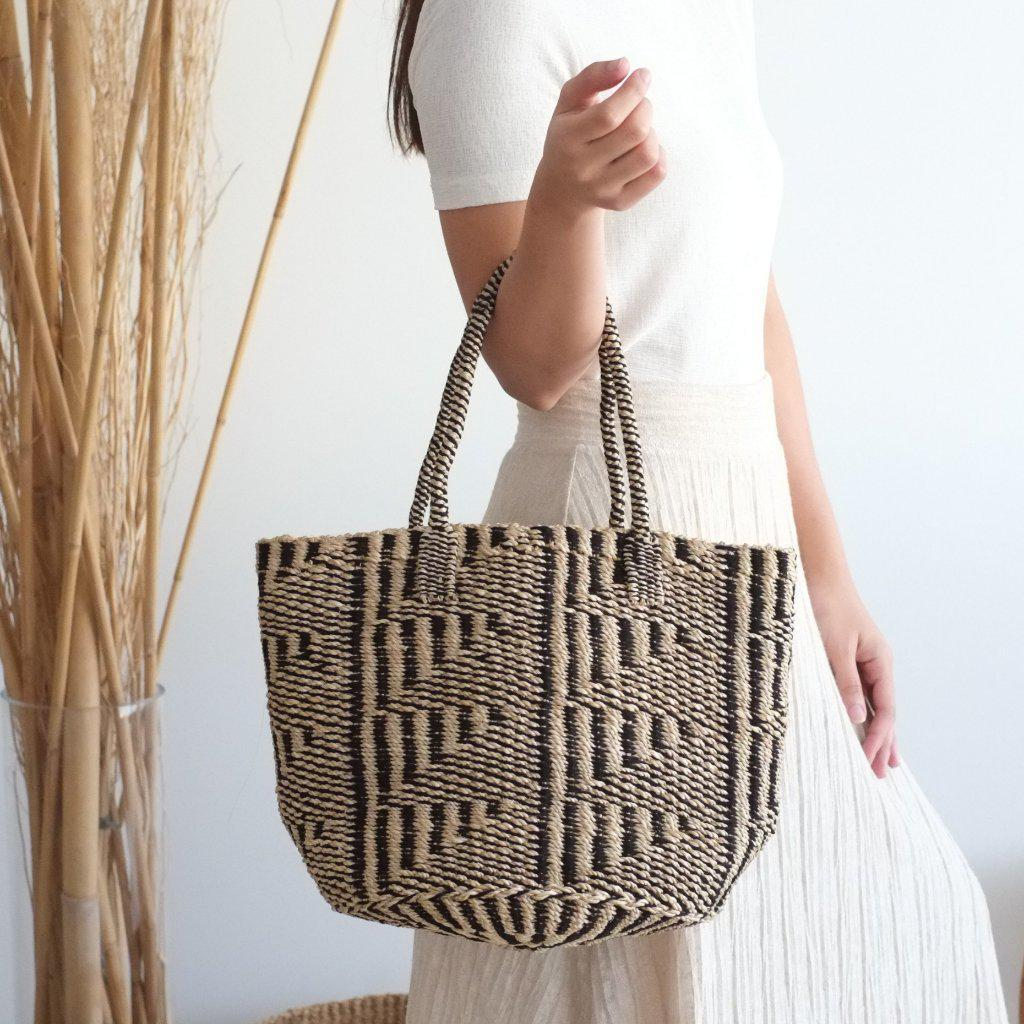 Aequem.com Shop Women's Ethical Fashion & Women's Sustainable Fashion Liza Tote Bag - Black & White Mix-Tote Bags-INNÉ Studios