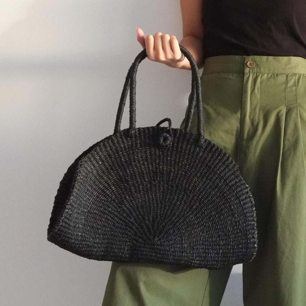 Aequem.com Shop Women's Ethical Fashion & Women's Sustainable Fashion Luna Half-Moon Tote - Black-Tote Bags-INNÉ Studios