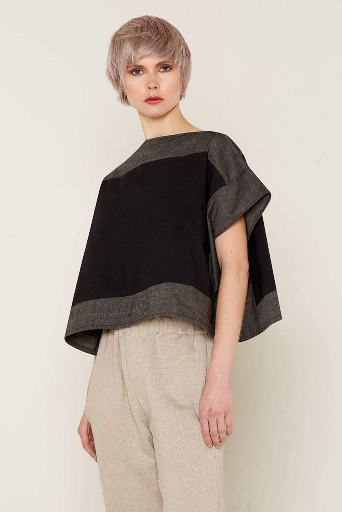 Aequem.com Shop Women's Ethical Fashion & Women's Sustainable Fashion Luna Top - Black and Grey-Tops-Bo Carter (UK)