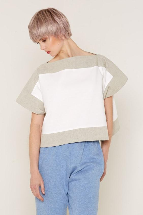 Aequem.com Shop Women's Ethical Fashion & Women's Sustainable Fashion Luna Top - White & Beige-Tops-Bo Carter (UK)