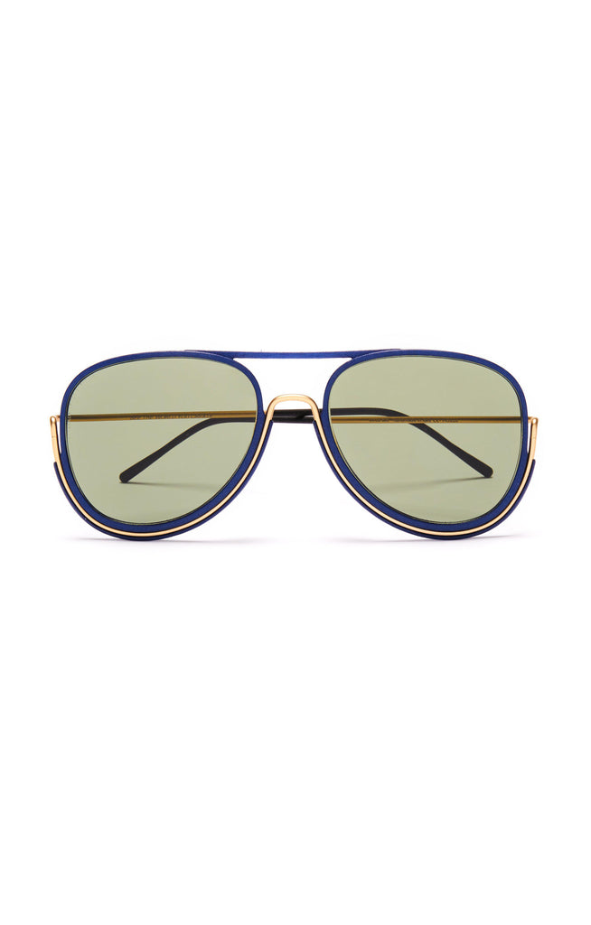 Aequem.com Shop Women's Ethical Fashion & Women's Sustainable Fashion MacCready Glasses in Gold/Lunar Blue/G15-Glasses-Wire Glasses (UK)