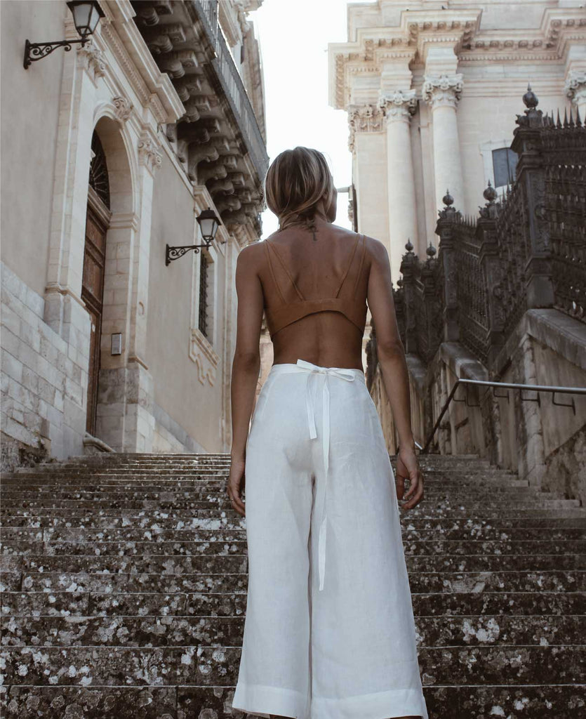 Aequem.com Shop Women's Ethical Fashion & Women's Sustainable Fashion Madagascar Hemp Pants in White-Bottoms-Adoro Tre