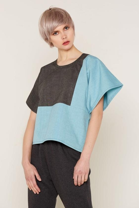 Aequem.com Shop Women's Ethical Fashion & Women's Sustainable Fashion Mars Top - Grey and Blue-Tops-Bo Carter (UK)
