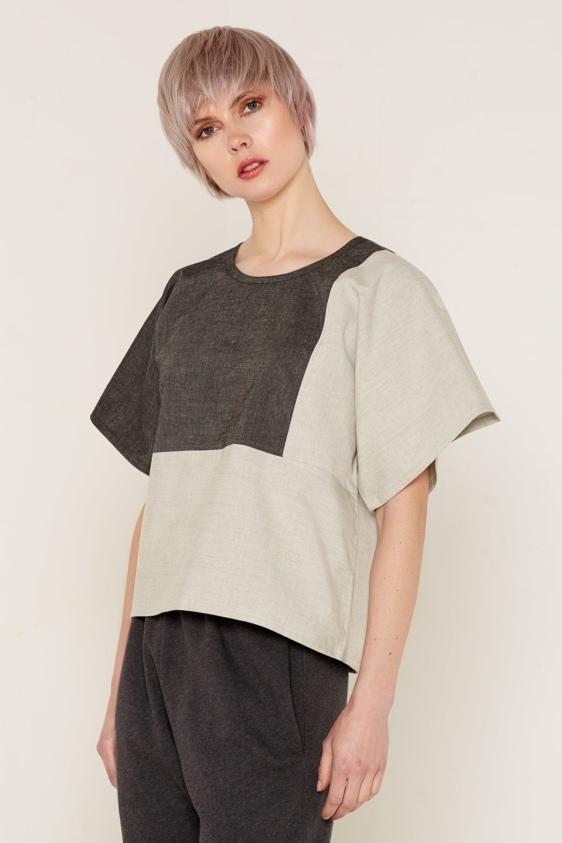 Aequem.com Shop Women's Ethical Fashion & Women's Sustainable Fashion Mars Top - Grey & Beige-Tops-Bo Carter (UK)