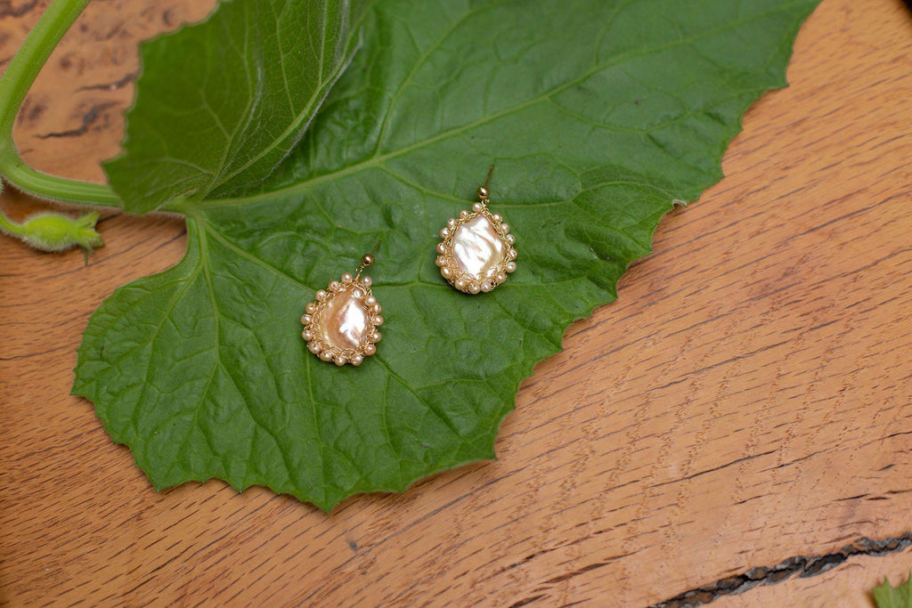 Aequem.com Shop Women's Ethical Fashion & Women's Sustainable Fashion Mini Polka 14k Gold Baroque Pearl Earrings-Jewellery-Carolina Wong (UK)