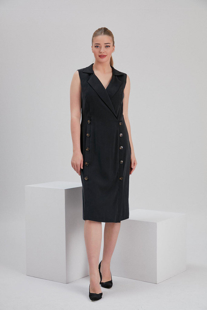 Aequem.com Shop Women's Ethical Fashion & Women's Sustainable Fashion Modal Len Sustainable Dress in Black-Dresses-NOACODE