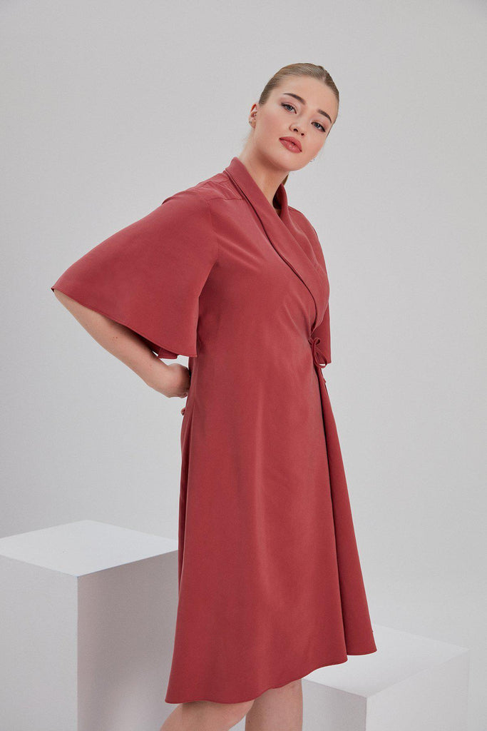 Aequem.com Shop Women's Ethical Fashion & Women's Sustainable Fashion Modal Ley Antique Envelope Dress in Red-Dresses-NOACODE