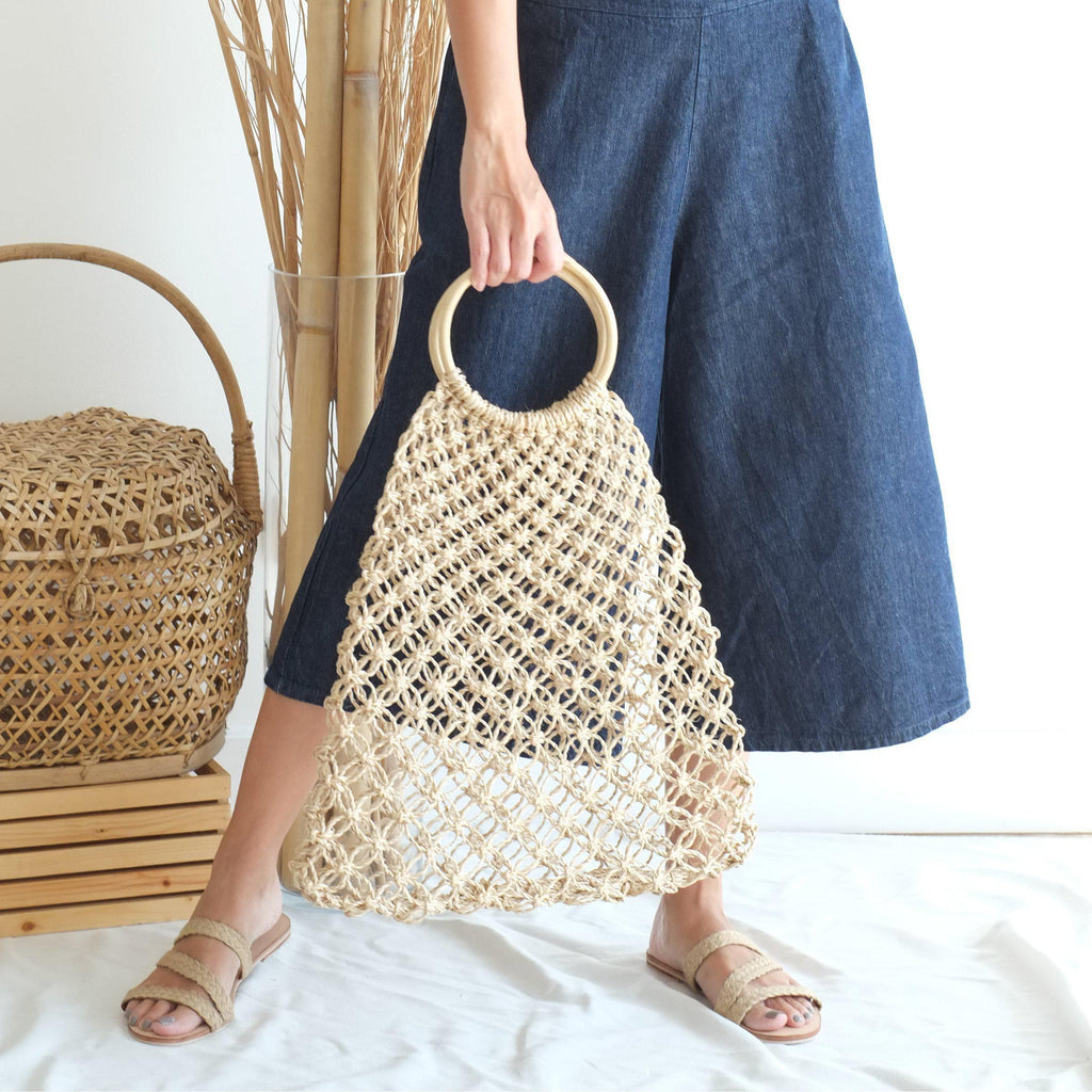 Aequem.com Shop Women's Ethical Fashion & Women's Sustainable Fashion Natalia Handle Macrame Bag - Natural-Bags-INNÉ Studios