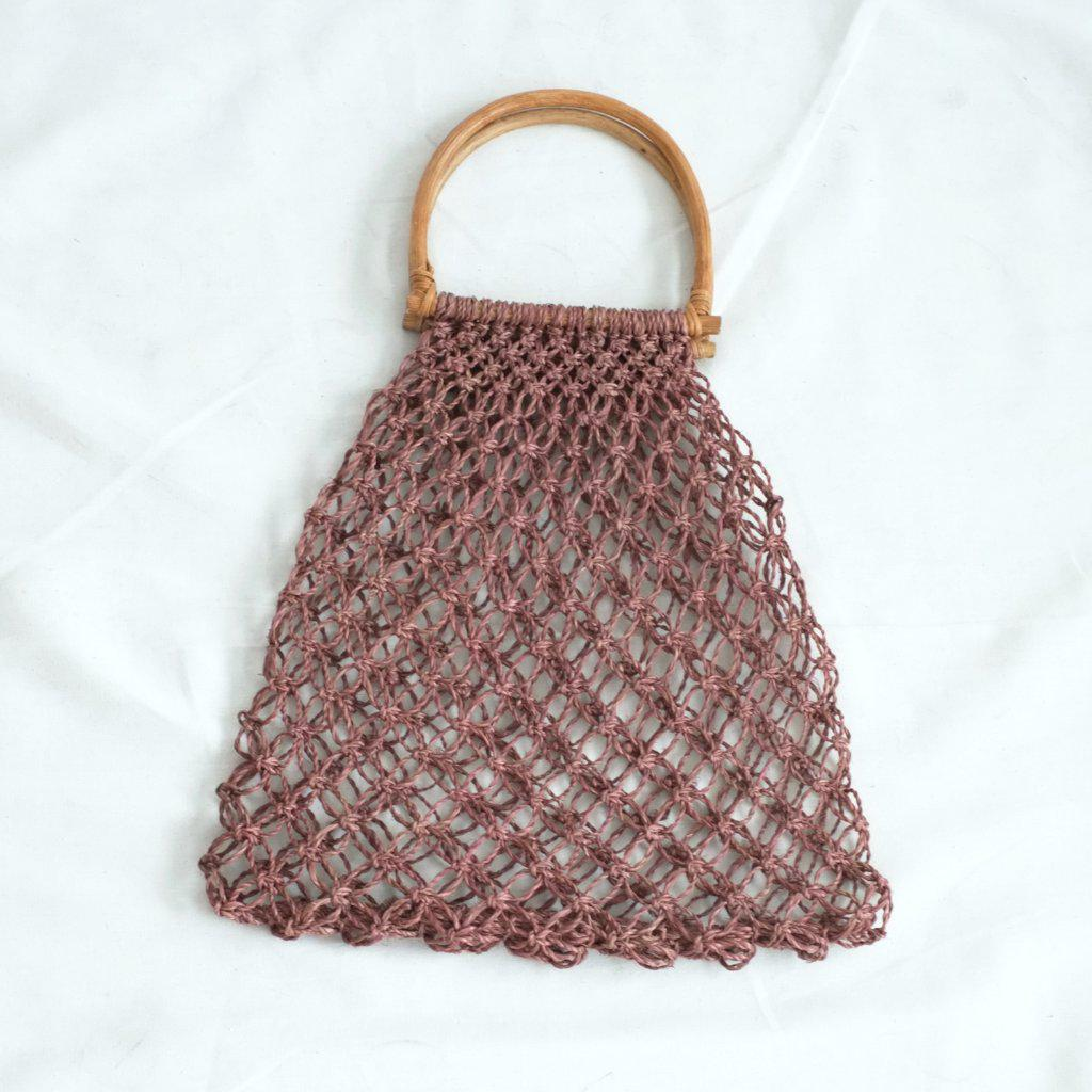 Aequem.com Shop Women's Ethical Fashion & Women's Sustainable Fashion Natalia Handle Macrame Bag - Wine-Bags-INNÉ Studios