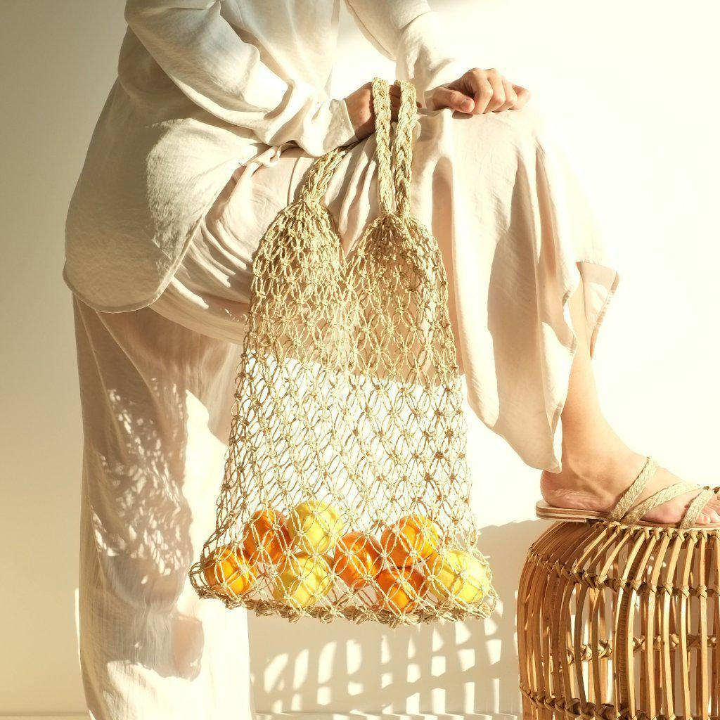 Aequem.com Shop Women's Ethical Fashion & Women's Sustainable Fashion Natalia Macrame Bag - Natural-Bags-INNÉ Studios