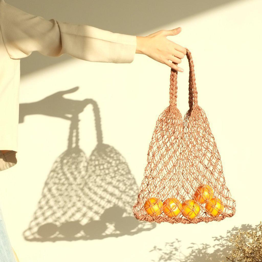 Aequem.com Shop Women's Ethical Fashion & Women's Sustainable Fashion Natalia Petite Macrame Bag - Cocoa-Bags-INNÉ Studios