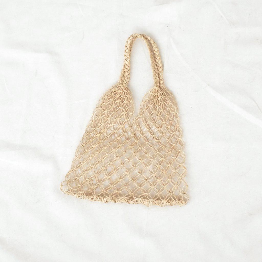 Aequem.com Shop Women's Ethical Fashion & Women's Sustainable Fashion Natalia Petite Macrame Bag - Natural-Bags-INNÉ Studios