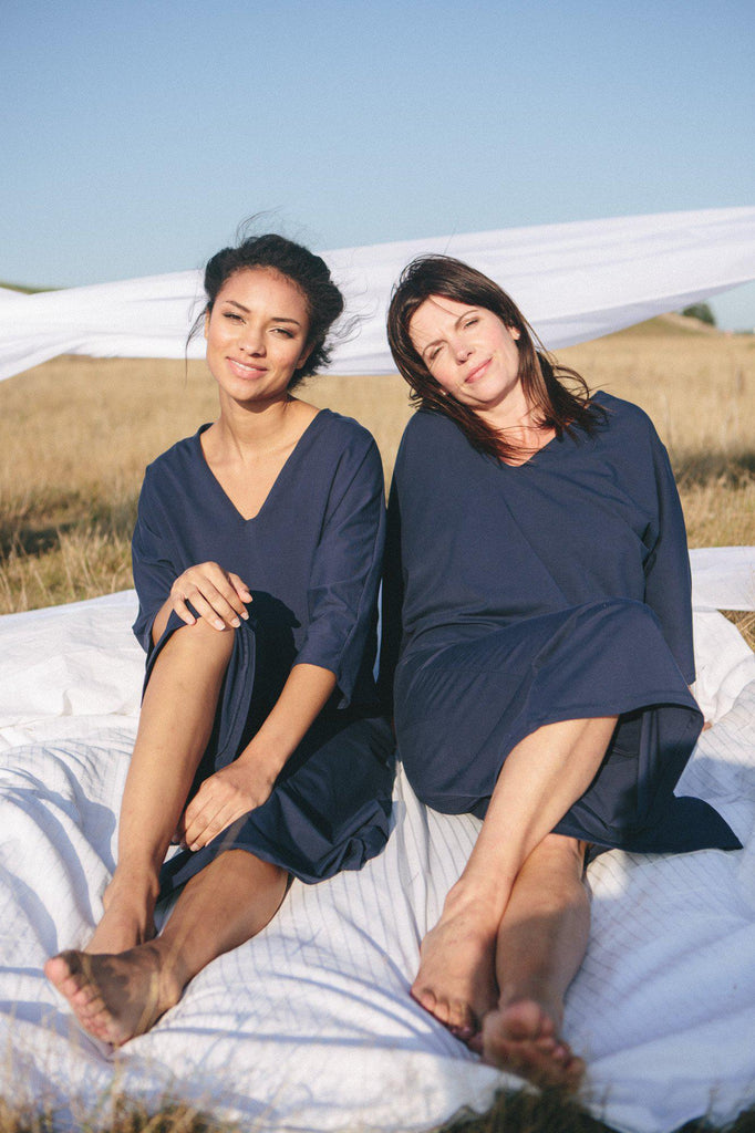 Aequem.com Shop Women's Ethical Fashion & Women's Sustainable Fashion Navy Blue Organic Cotton Pyjama-Nightwear & Loungewear-Amaella (UK)