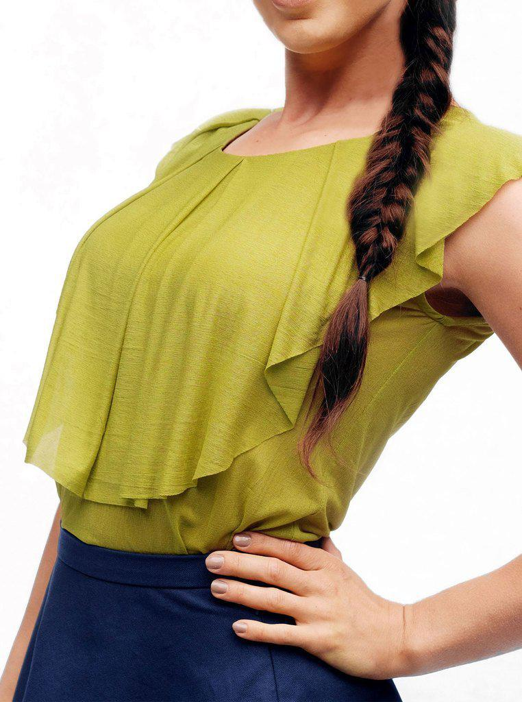Aequem.com Shop Women's Ethical Fashion & Women's Sustainable Fashion NISU Organic Silk Green Top-Tops-Kirivoo (UK)