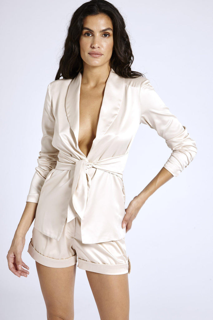 Aequem.com Shop Women's Ethical Fashion & Women's Sustainable Fashion Nude Satin Blazer-Coats & Jackets-SixtyNinety (UK)
