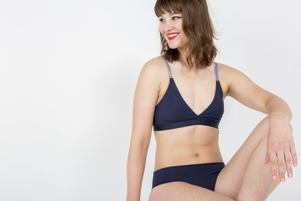 Aequem.com Shop Women's Ethical Fashion & Women's Sustainable Fashion Organic Cotton Seamless Knickers in Midnight Blue-Underwears-Amaella (UK)