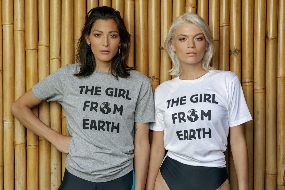 Aequem.com Shop Women's Ethical Fashion & Women's Sustainable Fashion Organic Cotton the Girl from Earth Unisex T-shirt in Grey-Tops-WeAreNativ (UK)