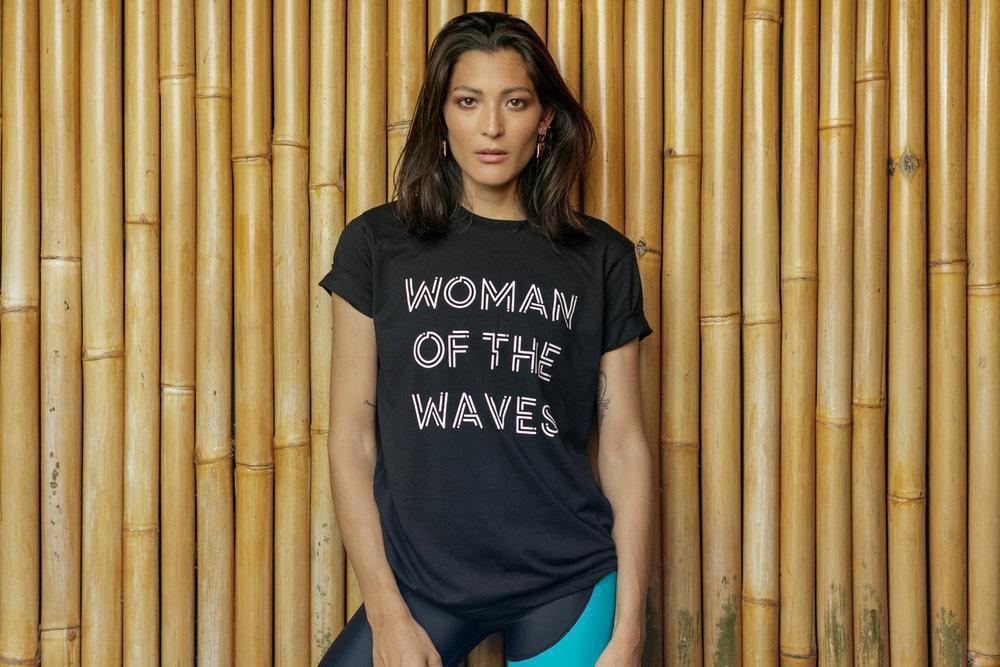 Aequem.com Shop Women's Ethical Fashion & Women's Sustainable Fashion Organic Cotton Woman of the Waves Unisex T-shirt in Black-Tops-WeAreNativ (UK)