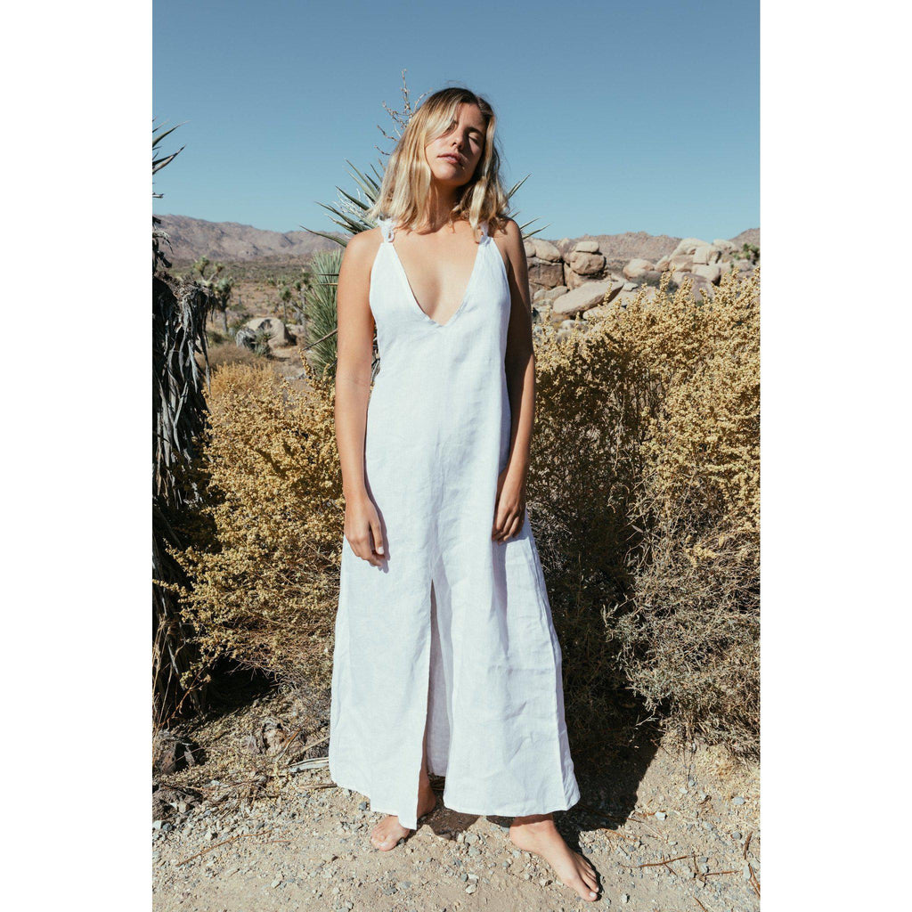 Aequem.com Shop Women's Ethical Fashion & Women's Sustainable Fashion Organic Linen White Bora Bora Summer Dress-Dresses-A Perfect Nomad