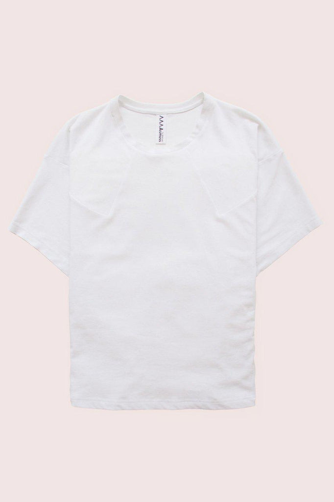Aequem.com Shop Women's Ethical Fashion & Women's Sustainable Fashion Panelled T-shirt in White-Tops-Asmuss Clothing (UK)
