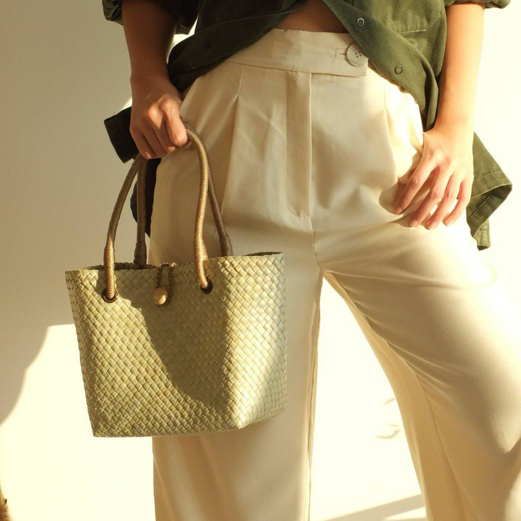 Aequem.com Shop Women's Ethical Fashion & Women's Sustainable Fashion Paulina Petite Tote Bag - Khaki-Tote Bags-INNÉ Studios