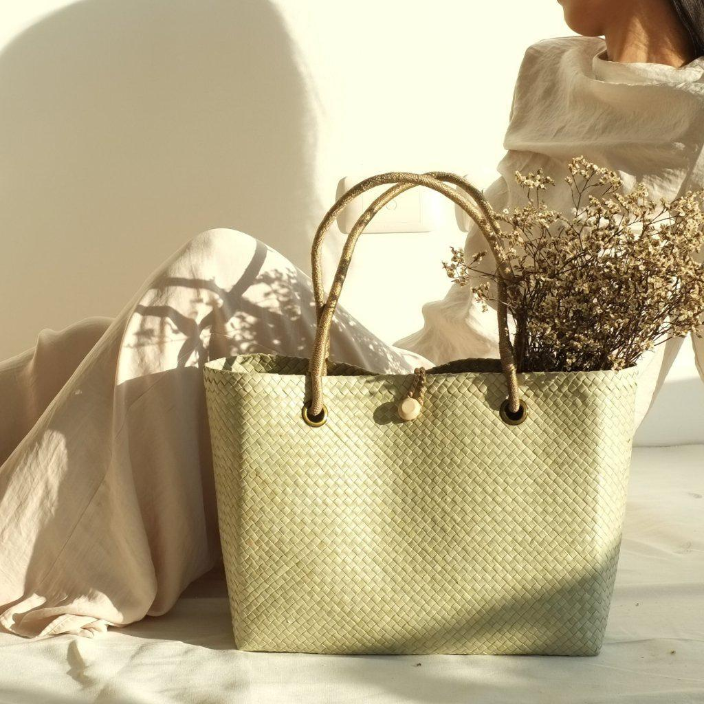 Aequem.com Shop Women's Ethical Fashion & Women's Sustainable Fashion Paulina Tote Bag - Khaki-Tote Bags-INNÉ Studios