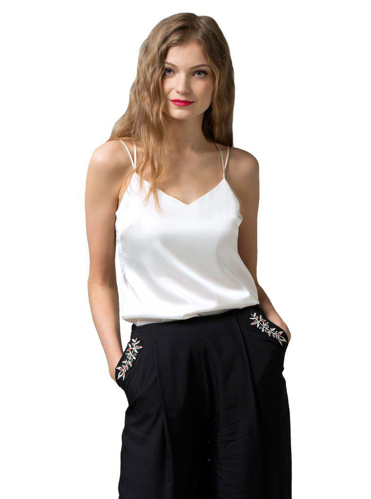 Aequem.com Shop Women's Ethical Fashion & Women's Sustainable Fashion PIRET White Cami Top in Organic Silk-Tops-Kirivoo (UK)
