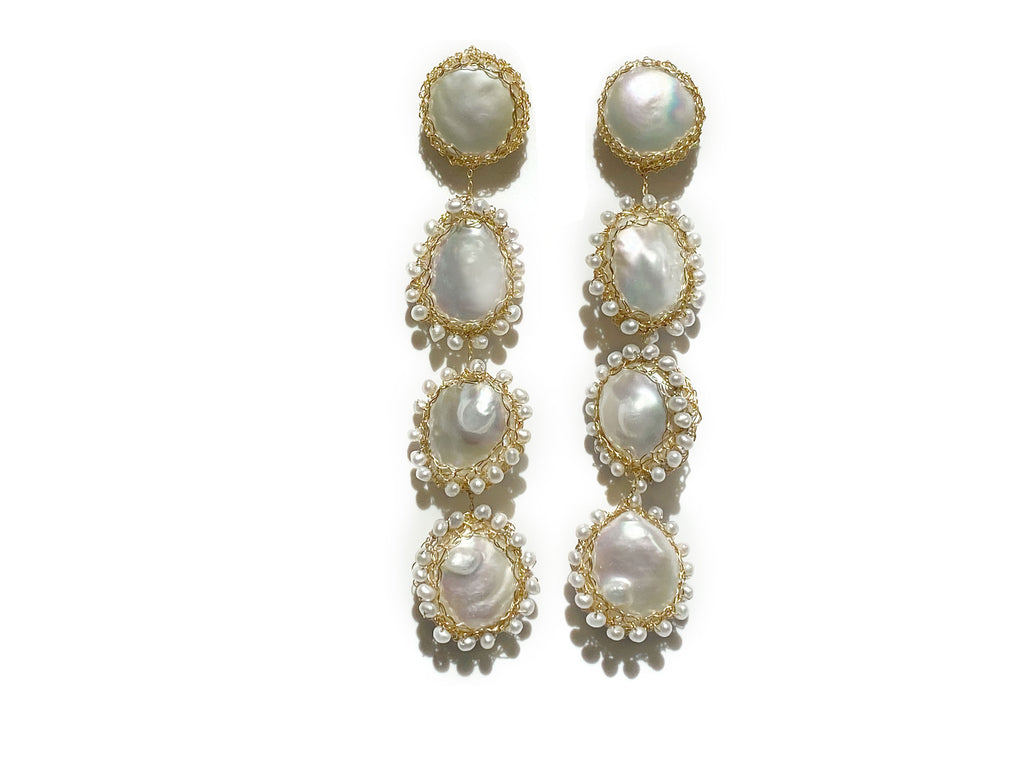 Aequem.com Shop Women's Ethical Fashion & Women's Sustainable Fashion Polka 14k Gold Baroque Pearl Long Drop Earrings-Jewellery-Carolina Wong (UK)