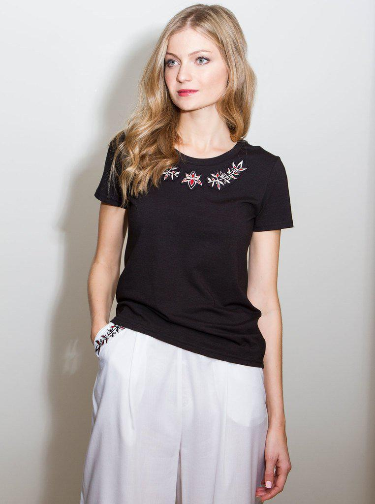 Aequem.com Shop Women's Ethical Fashion & Women's Sustainable Fashion PRIGITTE Black Bamboo T-shirt-Tops-Kirivoo (UK)