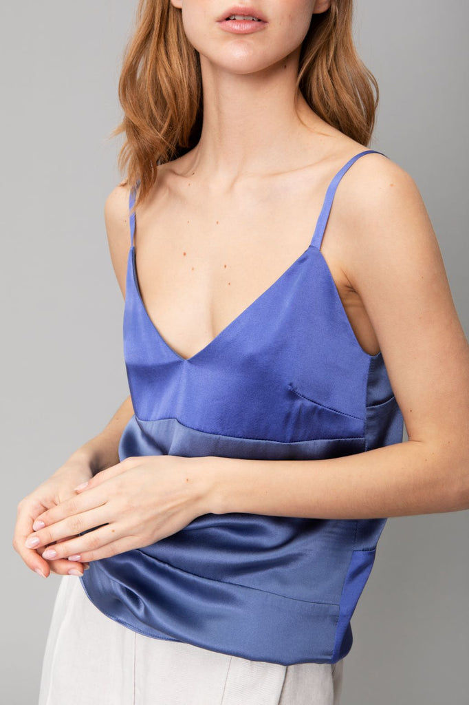 Aequem.com Shop Women's Ethical Fashion & Women's Sustainable Fashion Purple Paneled Silk-Satin Camisole Lugne-Tops-Reda Paula