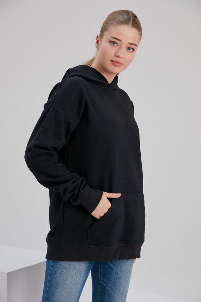 Aequem.com Shop Women's Ethical Fashion & Women's Sustainable Fashion Recycled Cotton and Polyester Hoodie in Black-Tops-NOACODE