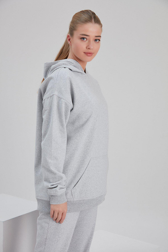 Aequem.com Shop Women's Ethical Fashion & Women's Sustainable Fashion Recycled Cotton and Polyester Hoodie in Light Grey-Tops-NOACODE