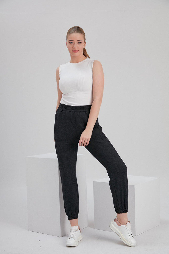 Aequem.com Shop Women's Ethical Fashion & Women's Sustainable Fashion Recycled Cotton and Polyester Sweatpants in Charcoal-Bottoms-NOACODE
