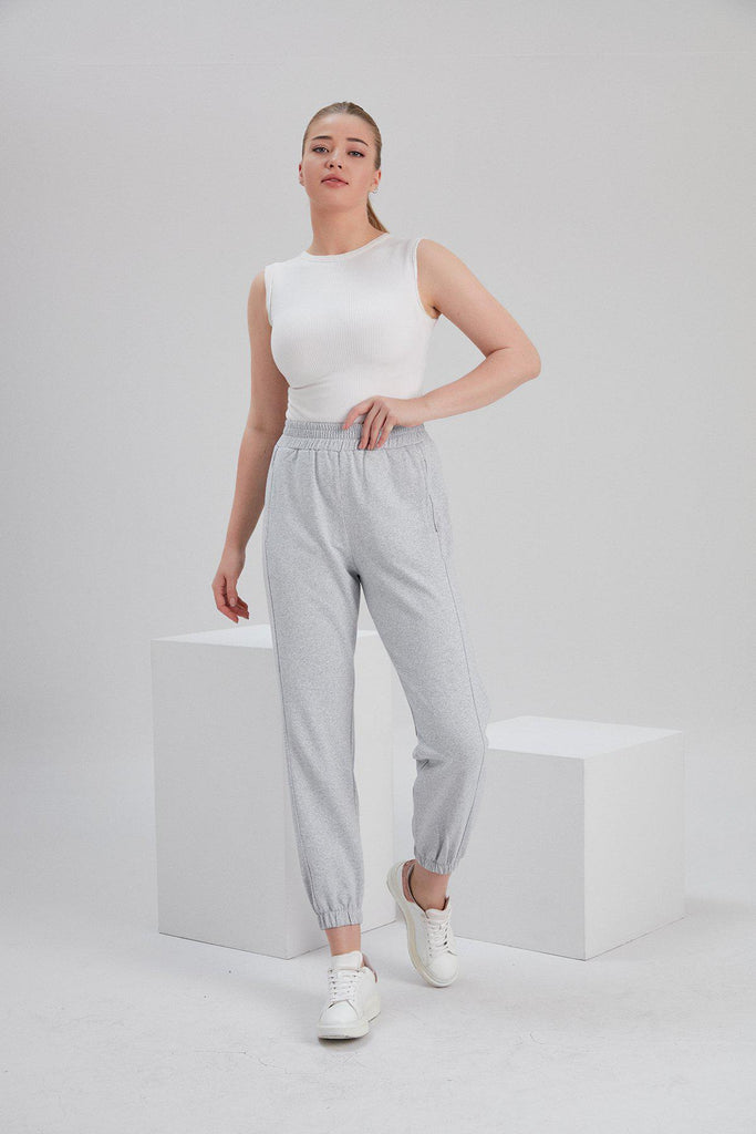 Aequem.com Shop Women's Ethical Fashion & Women's Sustainable Fashion Recycled Cotton and Polyester Sweatpants in Light Grey-Bottoms-NOACODE