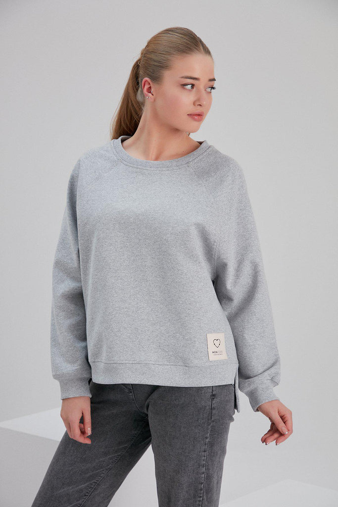 Aequem.com Shop Women's Ethical Fashion & Women's Sustainable Fashion Recycled Cotton and Polyester Sweatshirt in Light Grey-Tops-NOACODE