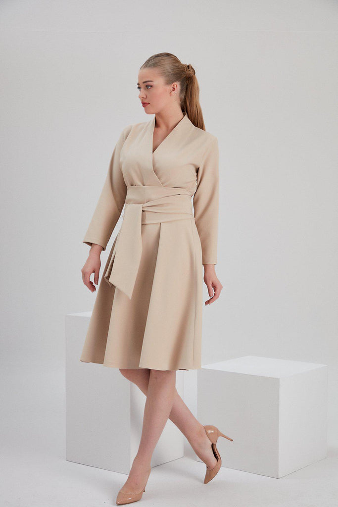 Aequem.com Shop Women's Ethical Fashion & Women's Sustainable Fashion Recycled Polyester Iris Envelope Dress in Beige-Dresses-NOACODE
