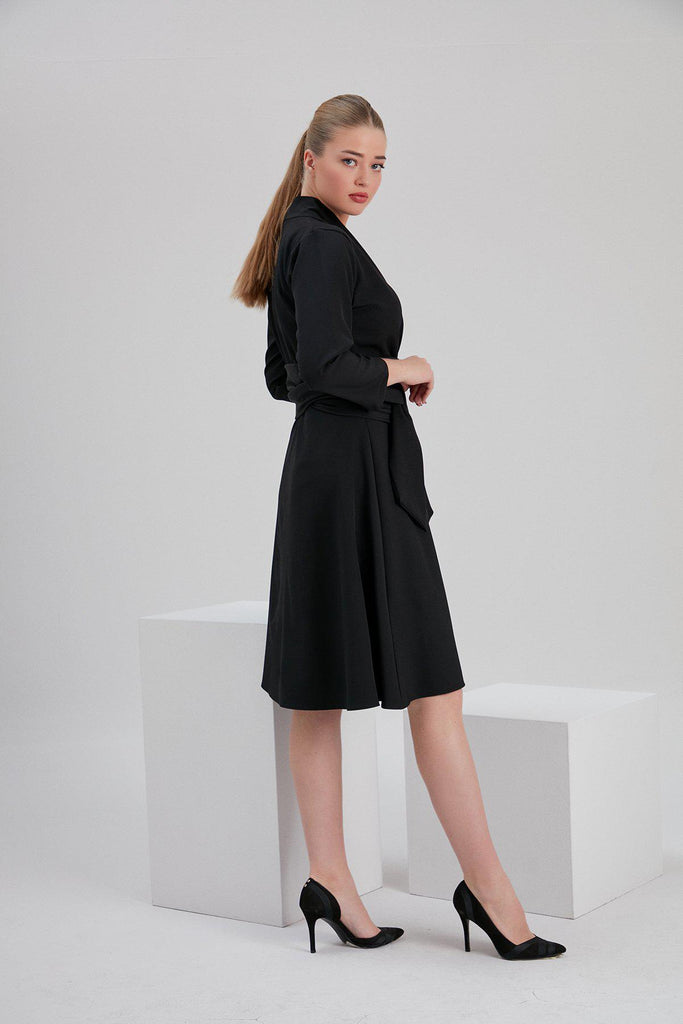 Aequem.com Shop Women's Ethical Fashion & Women's Sustainable Fashion Recycled Polyester Iris Envelope Dress in Black-Dresses-NOACODE