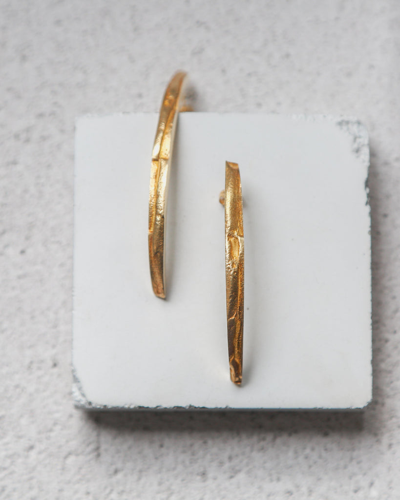 Aequem.com Shop Women's Ethical Fashion & Women's Sustainable Fashion Recycled Silver Cracked Long Studs in Gold-Jewellery-Gina Melosi