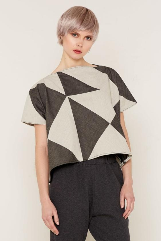 Aequem.com Shop Women's Ethical Fashion & Women's Sustainable Fashion Rhea Top - Grey and Beige-Tops-Bo Carter (UK)