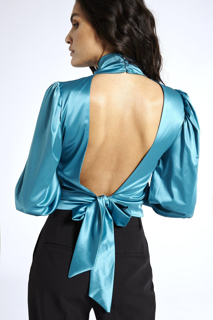 Aequem.com Shop Women's Ethical Fashion & Women's Sustainable Fashion Satin Open Back blouse in Blue-Blouses-SixtyNinety (UK)
