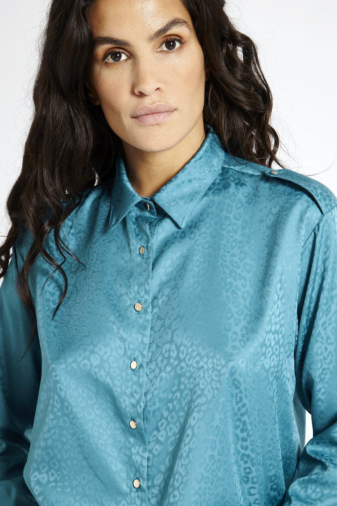 Aequem.com Shop Women's Ethical Fashion & Women's Sustainable Fashion Satin shirt in Jacquard Blue-Shirts-SixtyNinety (UK)
